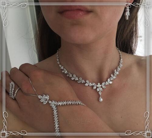 Set exclusivement zirconium AAA Mariée Bijoux Chaîne Collier Bracelet Bague Schmuckset