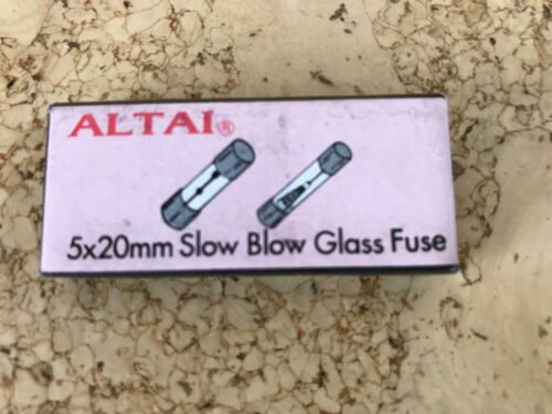 Pack 10 Altai 1A Slow Blow Glass Fuse 5x20mm