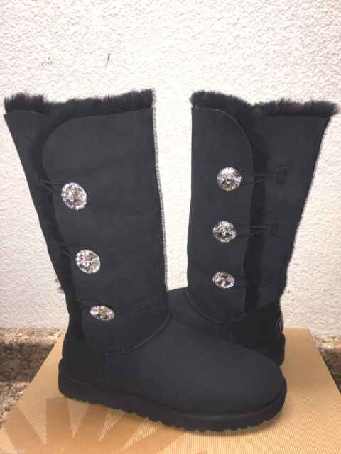 854880a7508 UGG Australia Black Bailey Button Bling Triplet Tall Sheepskin BOOTS Us6