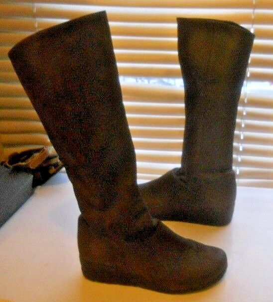 Arche France ~ Art to Wear ~ Tall Brown Wedge Heel Sidezip Boots ~ 36