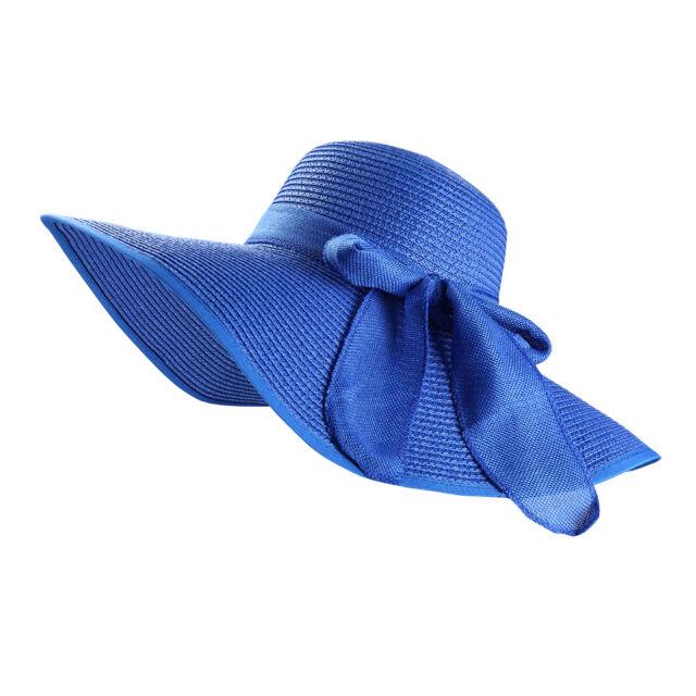 Royal Blue Women Wide Brim Bowknot Straw Sun Hat Floppy Fedora ... 4b6541bc0ff