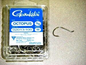 GAMAKATSU OCTOPUS FISHING HOOKS 100 PK SIZE 3//0 STOCK #02013-100 Nickel