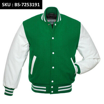 GOLD Leather Sleeve FOREST GREEN Wool Varsity Letterman Bomber BASEBALL Jacket