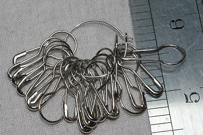 20 coilless safety pins silver knitting stitch markers non snag scarf