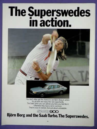 Bjorn Borg + Saab 900 Original 1980s Full Page Magazine Advert