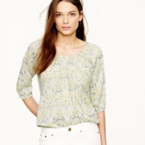J Crew Liberty of London Peasant Blouse in Lodden Paisley Floral Size XS Green