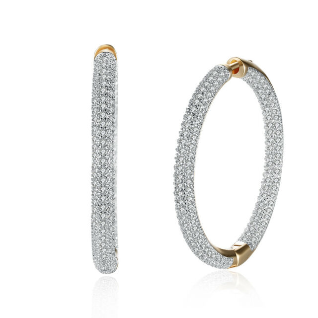 Silver 35mm Inside Out Cubic Zirconia Hoop Earrings