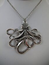 """Large Octopus Pendant 18"""" Chain PUNK Goth Steampunk Metal Pagan Wiccan"""