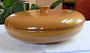 Vintage-RUSSEL-WRIGHT-Apricot-IROQUOIS-Round-Covered-Divided-VEGETABLE-BOWL-LID