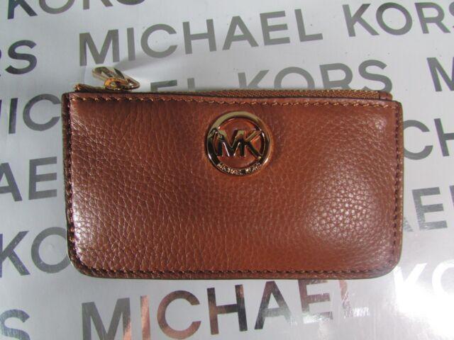 ca78f090829b Michael Kors Fulton Leather Key Chain Pouch Black Brown Watermelon ...