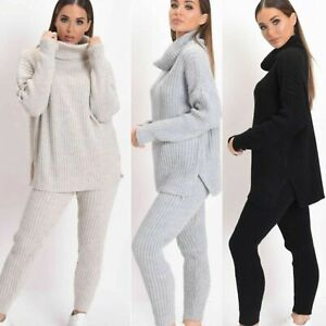 Womens-High-Roll-Neck-Chunky-Knitted-Top-Bottom-Ribbed-Lounge-Suit-Tracksuit-Set