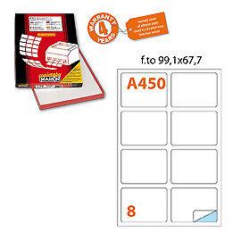 44870 Etichetta adesiva A/450 bianca 100fg A4 99,1x67,7mm (8et/fg) Markin