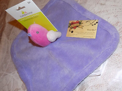 CUDDLE TIME BABY SECURITY BLANKET PINK BIRD PURPLE FLUTTER LOVEY SOFT GIRL NEW