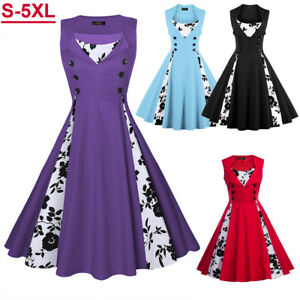 Plus-Size-Women-Sleeveless-Hepburn-Vintage-Swing-Floral-Pinup-Rockabilly-Dresses