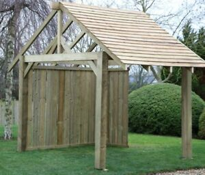 Details about Timber Garden Gazebo with Roof and Back Panel - 2 4m x 2 7m -  EASY TO BUILD KIT