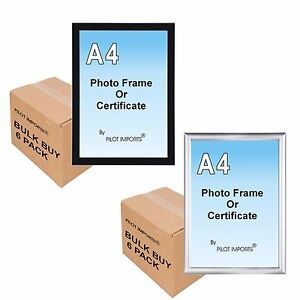 Cadre Photo Plastique Mural 6 a4 black & silver photo picture certificate frames wall desk