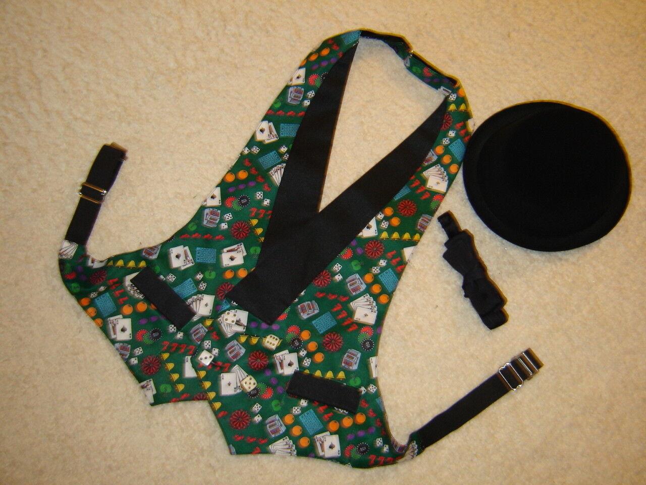 Gambler theme steampunk 1 2 vest print satin lined adjustable S M  derby
