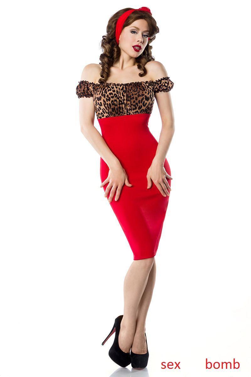 SEXY abito PIN UP Leopard red taglia S,M,L,XL,2XL,3XL (40,42,44,46,48,50) GLAM