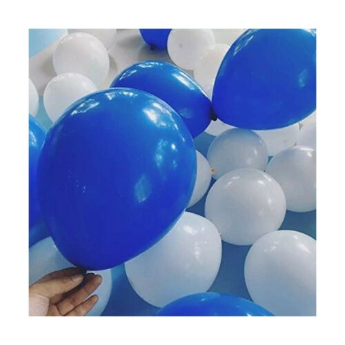 100 PCS White/& Royal blue Balloons 12 Inches Latex Round Balloons for Wedding...