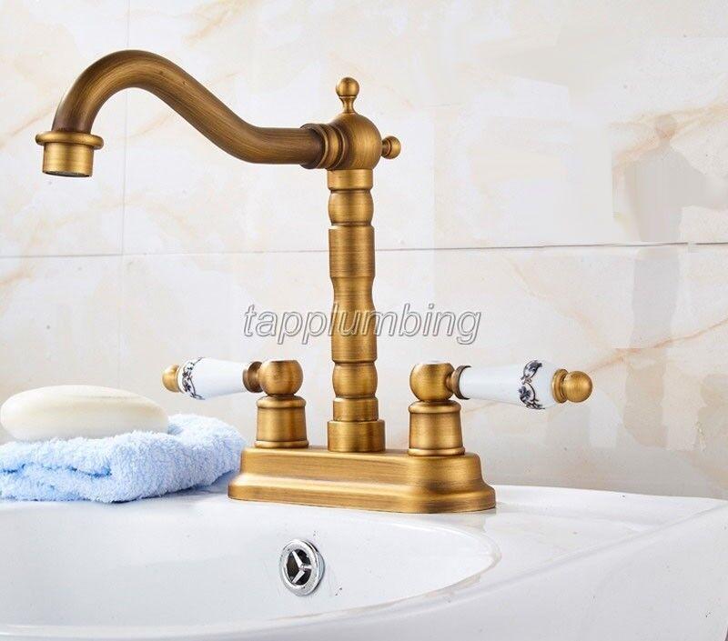 Nouvelle arrivée salle de bains bassin robinet en laiton antique Double Trou Mélangeur Robinets