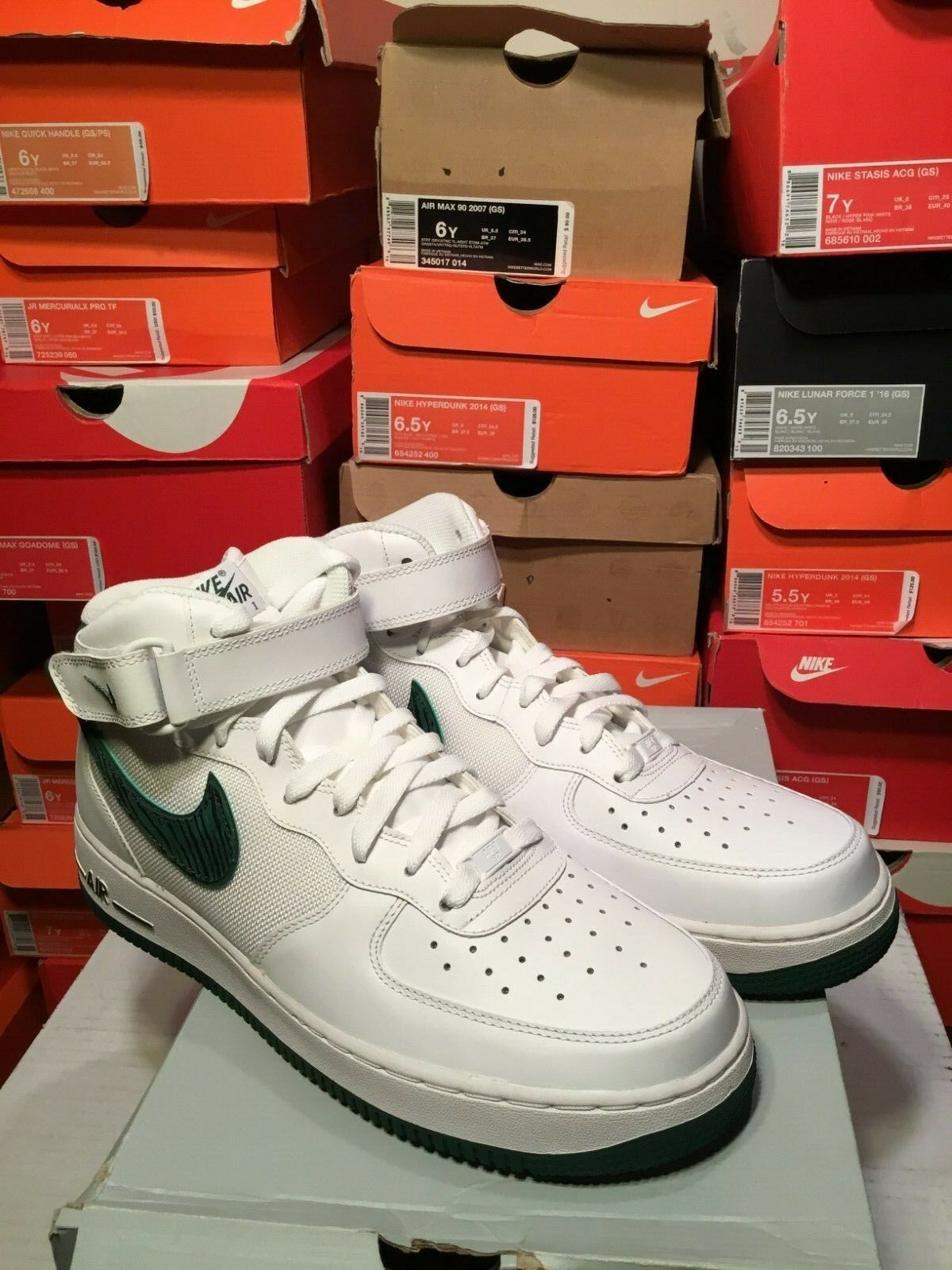 SALE NIKE AIR FORCE 1 MID '07 WHITE GORGE GREEN 315123 118 SIZE 11.5 NEW