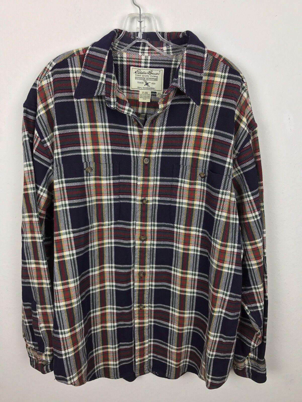 Eddie Bauer Heavy Shirt Größe L Outdoor Outfitters Jacket Plaid Button Vorne