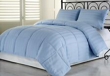 3pcs Hotel Dobby Stripe Goose Down Alternative Comforter Set, Blue, King