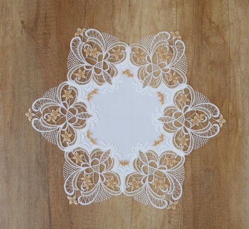 Tischwäsche Spitzendecken Deckchen Desiree in beige in 2 Größen Plauener Spitze