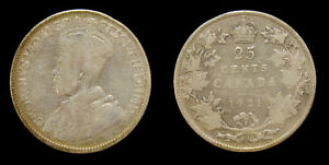 Canada-1921-25-Cent-King-George-V-Silver-Coin-VG-8