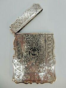 Pretty VICTORIAN Solid SILVER Card CASE, Birmingham 1871.