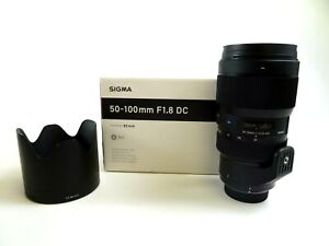 Sigma-50-100mm-F1-8-DC-ART-lens-for-Nikon-AF-In-original-box-w-lens-caps-amp-hood