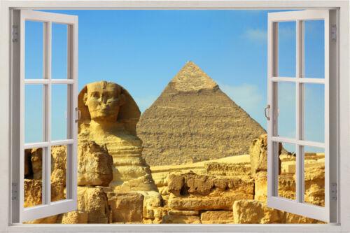 Énorme fenêtre autocollant mural pyramide egypte histoire vue vinyl decor 3d mural art hom