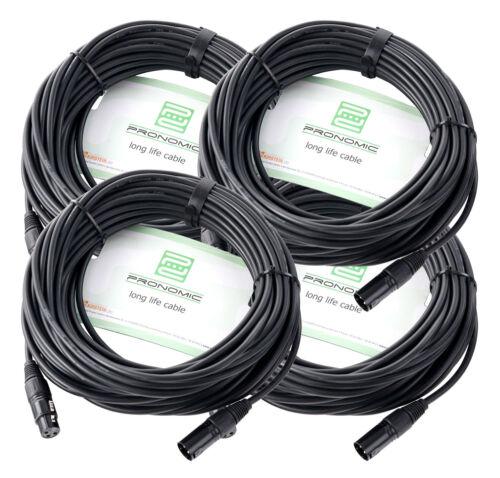 4x Set 20m XLR Mikrofonkabel mit hochwertigem Stecker und Schirmung in schwarz