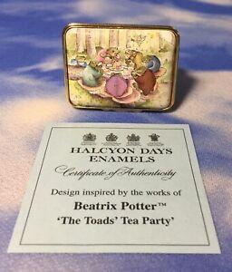 RARE-LE-Halcyon-Days-Enamels-Beatrix-Potter-The-Toads-Tea-Party-Box-38-50-EUC