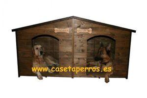 Casetas Dobles de madera para Perros - Colores para la Madera y Tejado a elegir