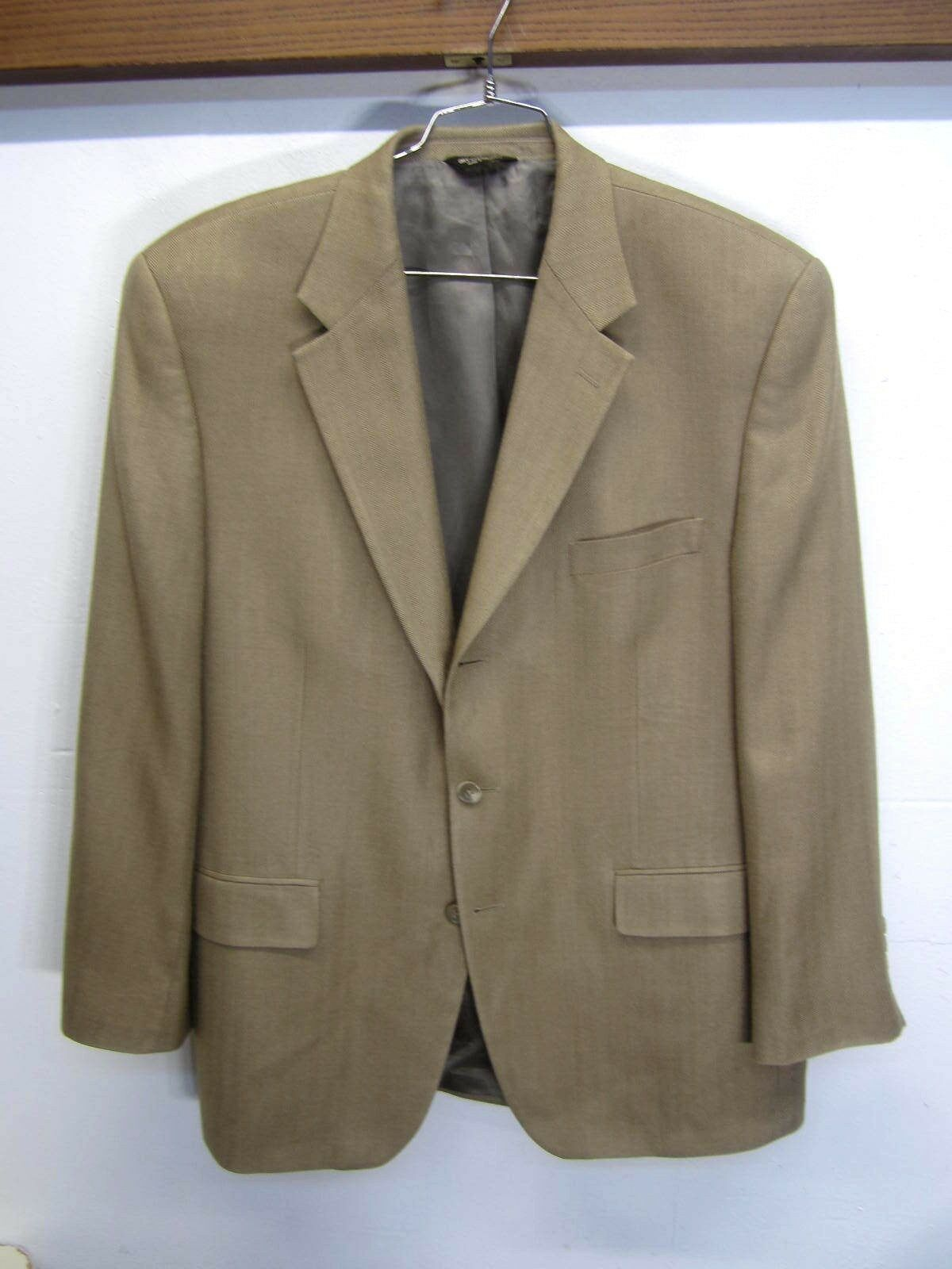 Vtg Chaps Ralph Lauren Blazer Sport Coat 3 btn tan herringbone silk sz 42R EUC