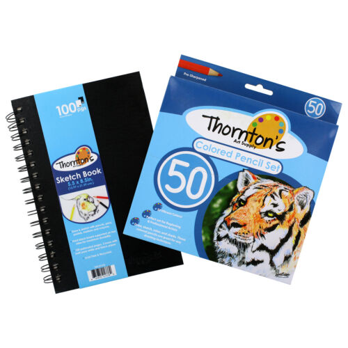 w// 50 Colored Pencils B/&W Thornton/'s Art Supply 5.5 x 8.5 Spiral Sketch Pad