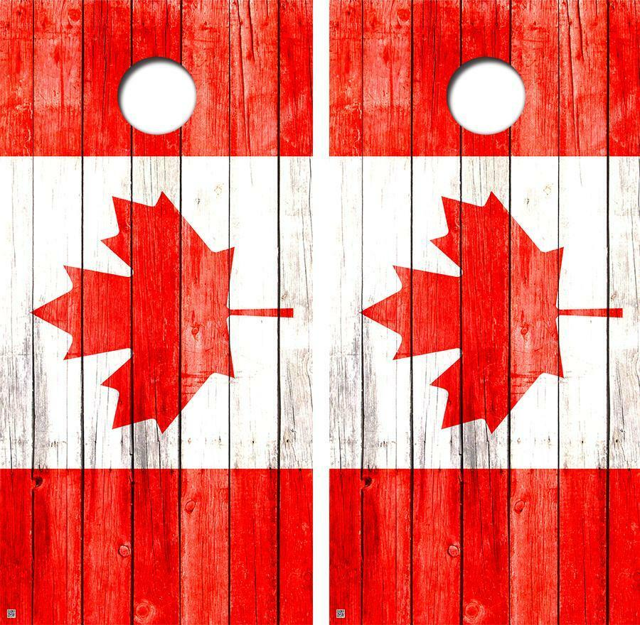 Canadian FLag Vintage  Series Cornhole Board Skin Wrap FREE SQUEEGEE  buy 100% authentic quality