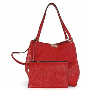 c57c9837bbcf Image is loading BURBERRY-Canterbury-Red-Embossed-Check-Leather-Tote