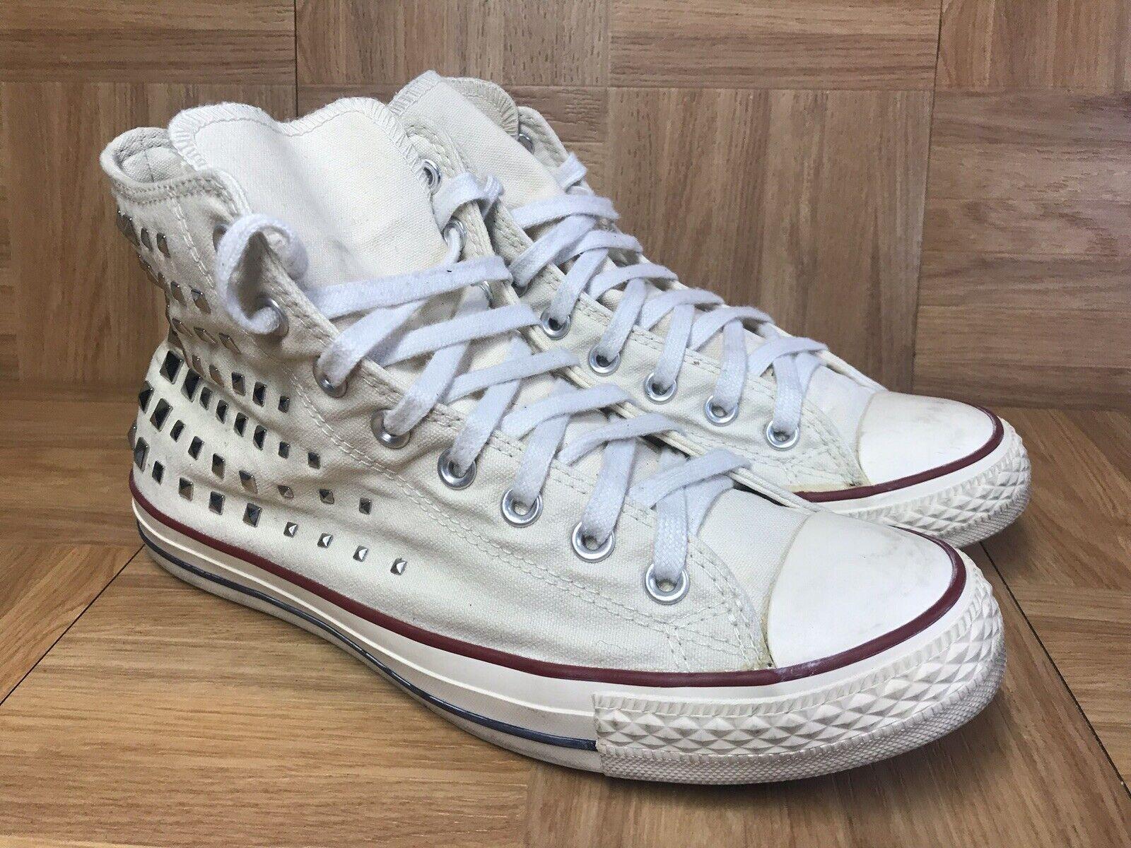 RARE Converse All Star Chuck Taylor STUDS White Silver Sneakers Sz 11 Women's