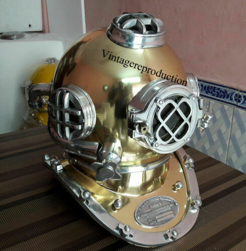 Vintage Antique Brass Scuba Mark V Us Navy  Deep Diving Divers Helmet