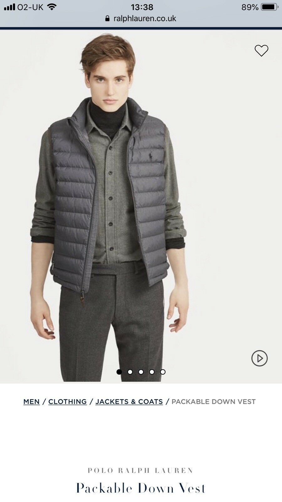 Polo Ralph Lauren Body Warmer, Grey, Large, New With Tags