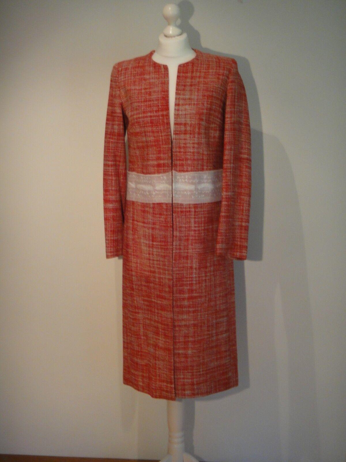 Karen Millen Roja Seda Tweed Patrón  Sin Cuello Abrigo Talla 8  en stock
