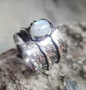 Solid-925-Sterling-Silver-Band-Spinner-Ring-Jewelry-Moonstone-All-Size-DO-215