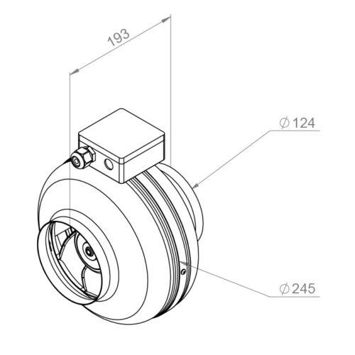 Filterbox mit Heiztregister … RC.EC Rohrventilator mit EC-Motor