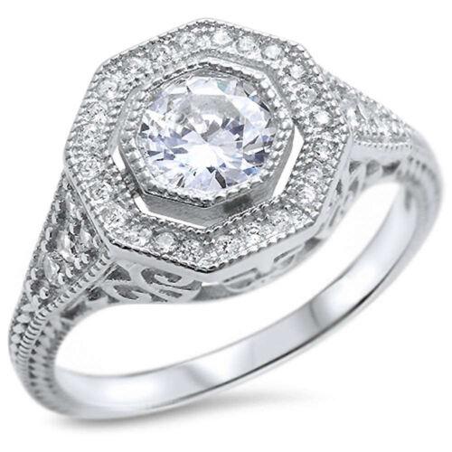 Vintage Design Filigree Wedding Engagement Ring Bezel Round CZ Sterling Silver