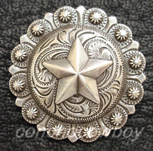 WESTERN SADDLE HORSE TACK ANTIQUE ENGRAVED STAR BERRY CONCHOS screw back