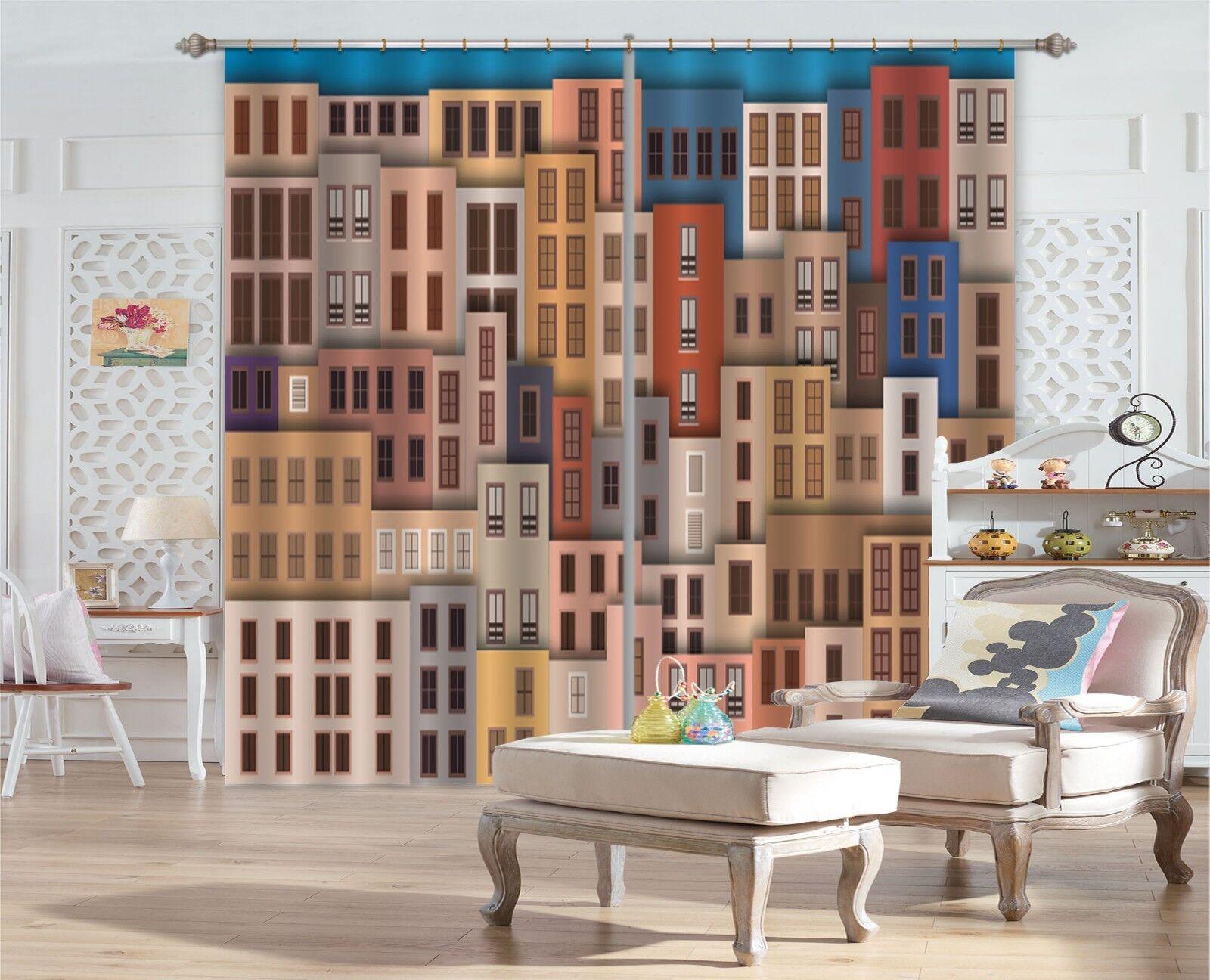 Modelo de casa de 3D impresión fotográfica Blockout Cortinas Cortinas De Tela Cortina Ventana CA