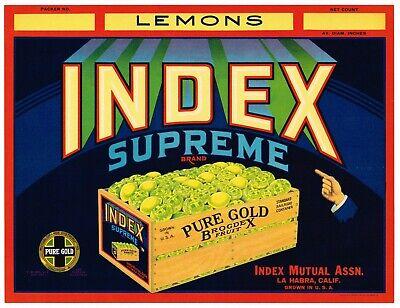La Habra Orange County California Reliable Lemon Citrus Crate Label Art Print