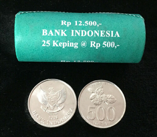 INDONESIA 500 RUPIAH 2003 LOT 25 UNC COINS 1 OFFICIAL ROLL